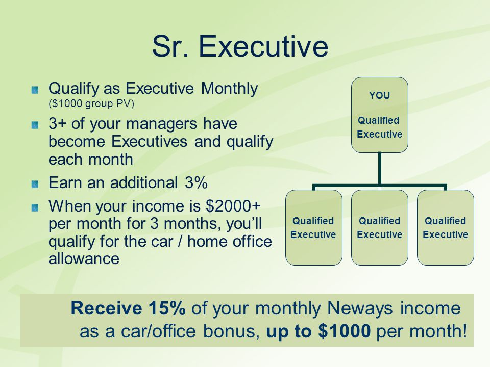 Sr. Executive Qualify as Executive Monthly ($1000 group PV) 3+ of your managers have become Executives and qualify each month Earn an additional 3% Wh