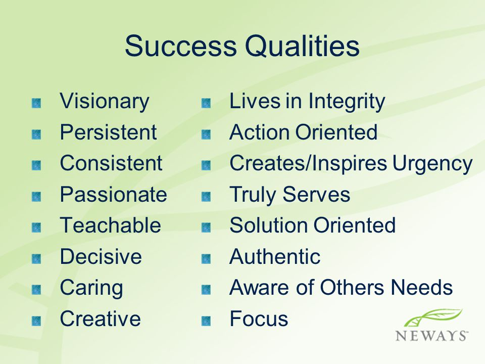 Success Qualities Visionary Persistent Consistent Passionate Teachable Decisive Caring Creative Lives in Integrity Action Oriented Creates/Inspires Urgency Truly Serves Solution Oriented Authentic Aware of Others Needs Focus