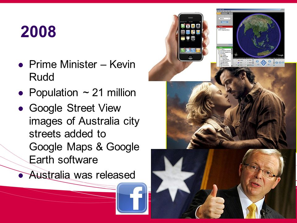2008 Prime Minister – Kevin Rudd Population ~ 21 million Google Street View images of Australia city streets added to Google Maps & Google Earth software Australia was released