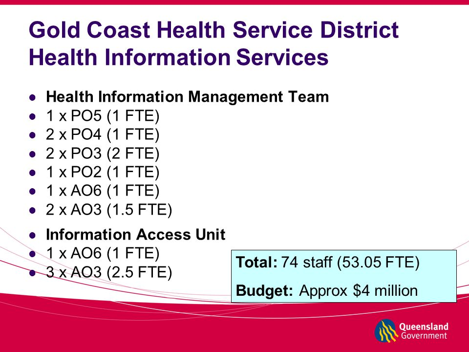 Gold Coast Health Service District Health Information Services Health Information Management Team 1 x PO5 (1 FTE) 2 x PO4 (1 FTE) 2 x PO3 (2 FTE) 1 x PO2 (1 FTE) 1 x AO6 (1 FTE) 2 x AO3 (1.5 FTE) Information Access Unit 1 x AO6 (1 FTE) 3 x AO3 (2.5 FTE) Total: 74 staff (53.05 FTE) Budget: Approx $4 million