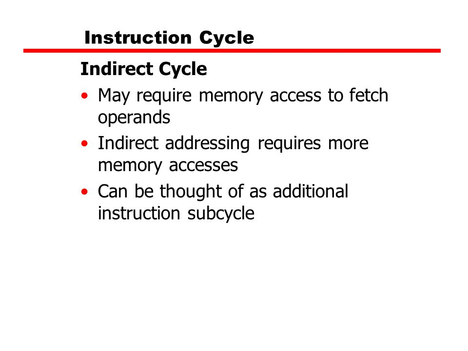 Instruction Cycle Indirect Cycle May require memory access to fetch operands Indirect addressing requires more memory accesses Can be thought of as ad