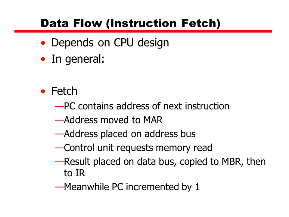 Data Flow (Instruction Fetch) Depends on CPU design In general: Fetch —PC contains address of next instruction —Address moved to MAR —Address placed o