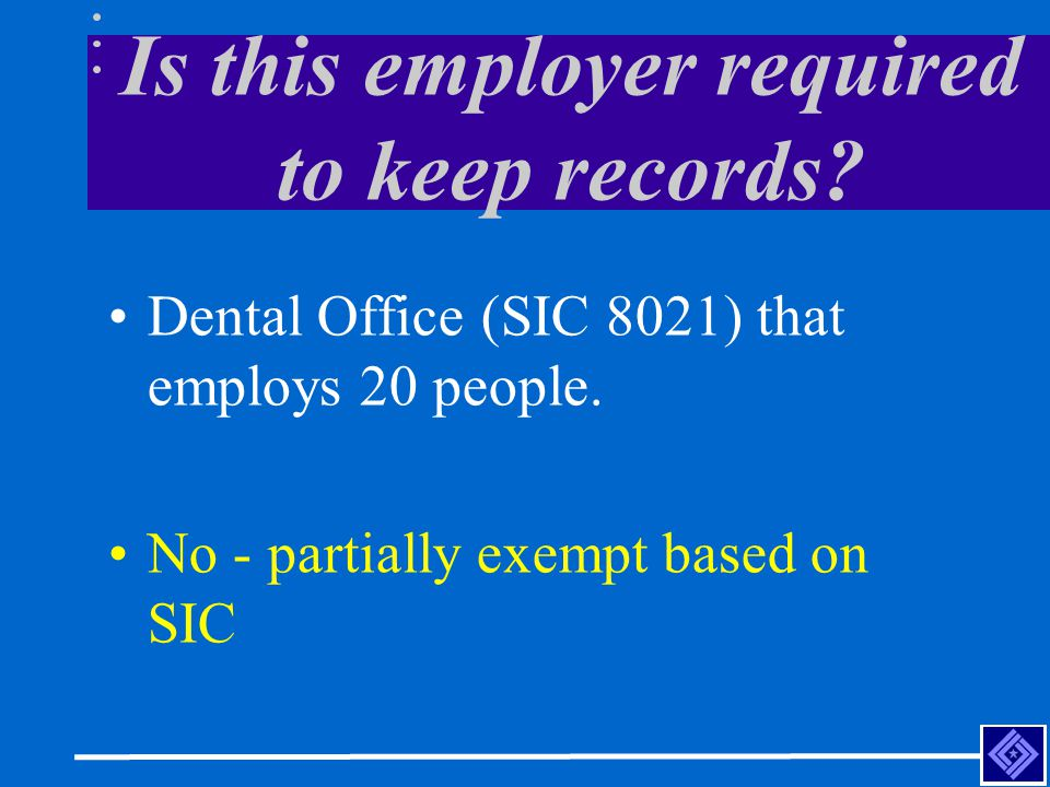 Entering Information on the OSHA 300 Log 1/9/02, Carrie Smith, Accounting Clerk.