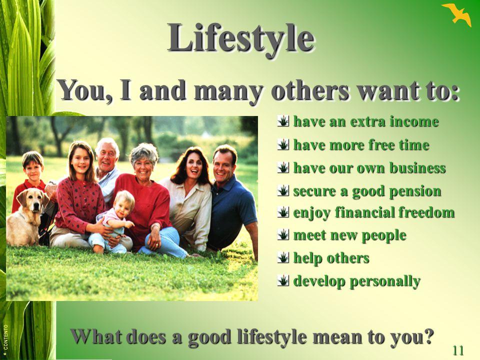 © CONTENTO 11 LifestyleLifestyle You, I and many others want to: You, I and many others want to: have an extra income have an extra income have more f