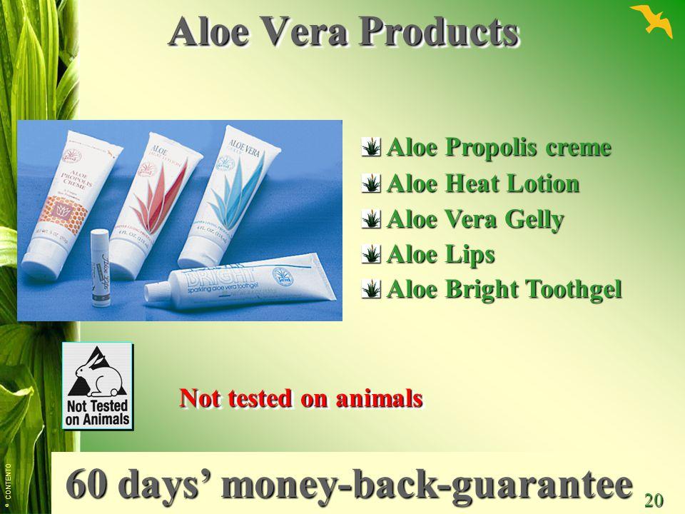 © CONTENTO 20 Aloe Vera Products Aloe Propolis creme Aloe Propolis creme Aloe Heat Lotion Aloe Heat Lotion Aloe Vera Gelly Aloe Vera Gelly Aloe Lips A