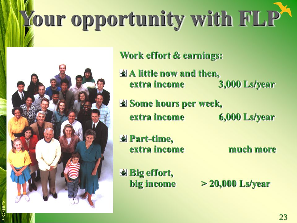 © CONTENTO 23 Your opportunity with FLP Work effort & earnings: A little now and then, A little now and then, extra income 3,000 Ls/year extra income