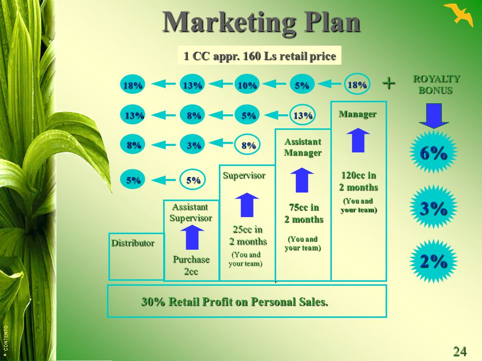 © CONTENTO 24 Marketing Plan + Distributor AssistantSupervisor Purchase2cc Supervisor 25cc in 2 months (You and your team) 30% Retail Profit on Person