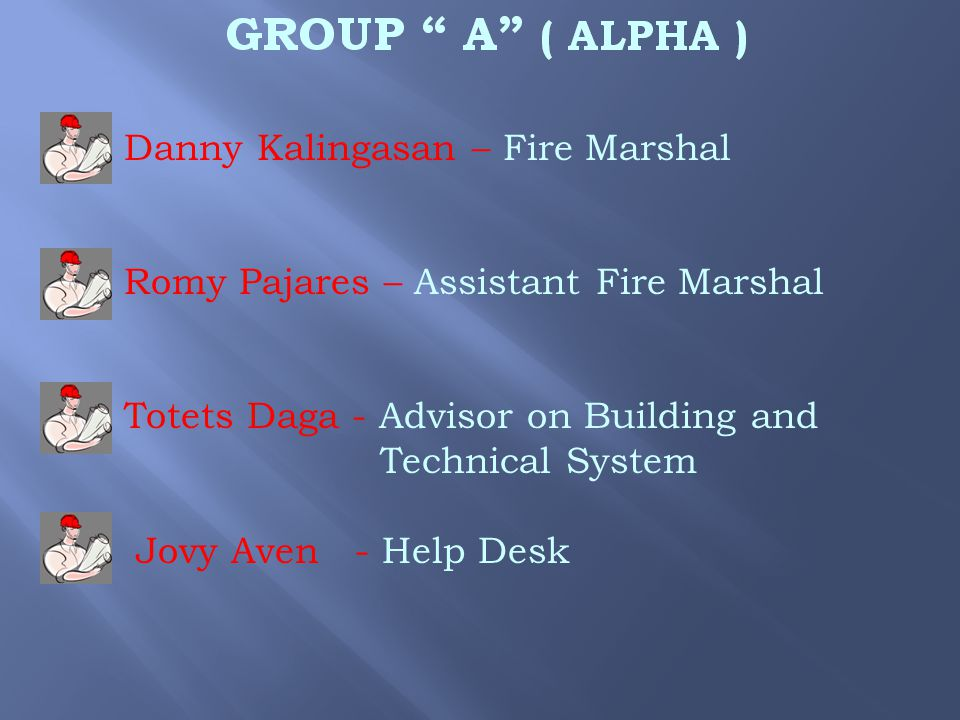  Danny Kalingasan – Fire Marshal  Romy Pajares – Assistant Fire Marshal  Totets Daga - Advisor on Building and Technical System  Jovy Aven - Help Desk