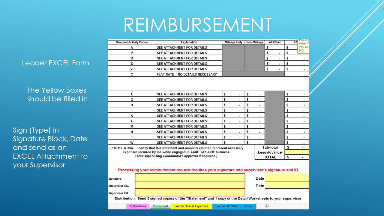 REIMBURSEMENT Leader EXCEL Form The Yellow Boxes should be filled in.