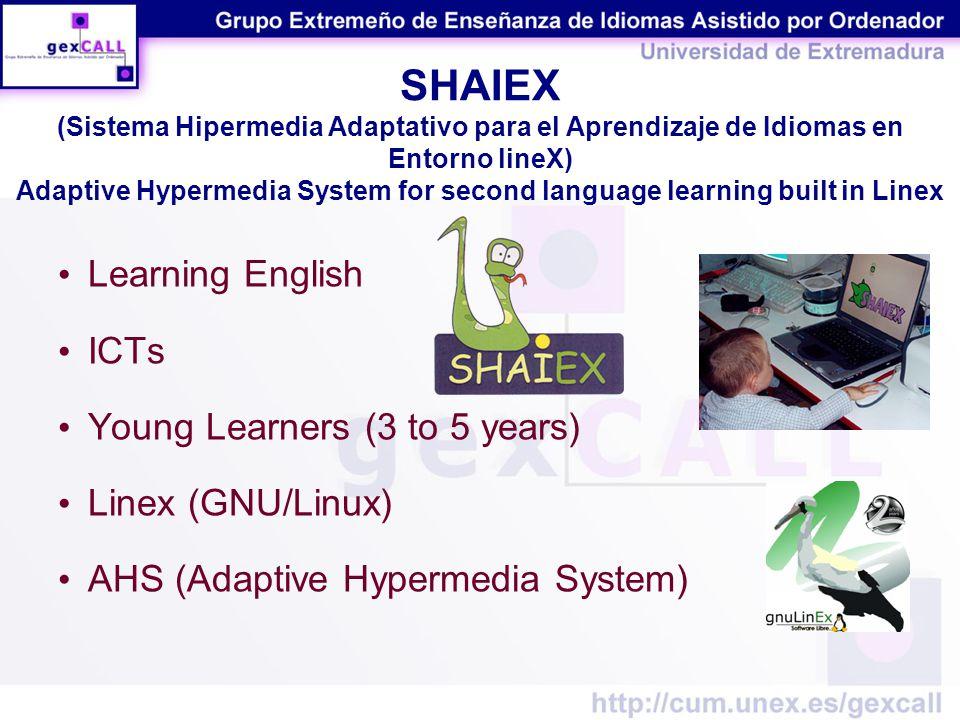 SHAIEX (Sistema Hipermedia Adaptativo para el Aprendizaje de Idiomas en Entorno lineX) Adaptive Hypermedia System for second language learning built in Linex Learning English ICTs Young Learners (3 to 5 years) Linex (GNU/Linux) AHS (Adaptive Hypermedia System)