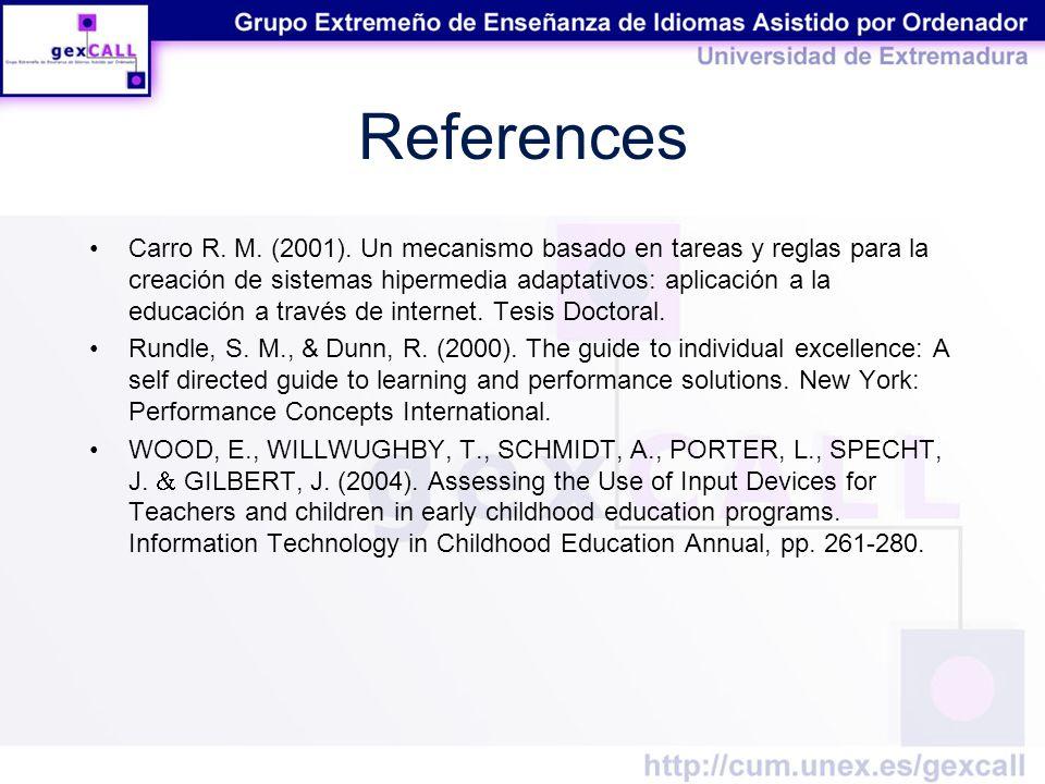 References Carro R. M. (2001).