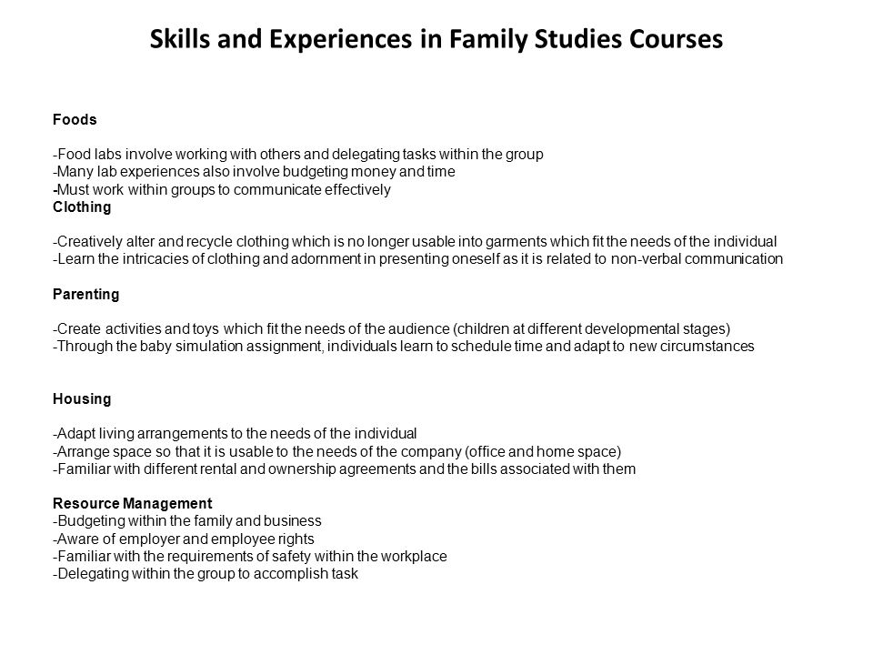 Family Studies Related Careers FoodsClothingParentingHousingResource Management - Food Scientist -Dietitian -Chef -Food -Technologist -Nutritionist -Baker -Caterer -Food/Beverage Supervisor -Fast Food Worker -Hotel Manager -Hotel Administrator -Home Care Worker -Home Maker -Bed and Breakfast Proprietor -Event Planner -Restaurant Manager -Cookbook Writer and Editor -Food Stylist -Food Safety Educator -Agri-Foods Producer -Healthy Eating and Fitness Coach -Recipe Tester and Developer -Writer - Buyer -Interior Decorator -Upholsterer -Textile Designer -Textile Technologist -Furrier -Tailor -Hair Stylist -Esthetician -Fashion Designer -Fashion Retailer -Fashion Consultant -Home Maker -Clothing Manufacturer -Costume Designer (for plays) -Museum Curator -Make-up Artist -Retail Buyer -Set Designer -Stylist -Fiber artist -Athletic Wear Designer -Media Fashion Consultant -Writer - Professor -Teacher -Day Care Worker -Community Services Worker -Nurse -Child Care Worker -Social Worker -Physical / Occupational Therapist -Psychologist -Sociologist -Addiction Counsellor -Career Counsellor -Child and Youth Worker -Family Practitioner -Fundraiser -Funeral Director -Gerontologist -Home Care Worker -Home Maker -Family Law Lawyer or Judge -Lobbyist -Mediator -Midwife -Nanny -Pediatrician -Rehab Counsellor -Social Worker -Marriage Prep and Family Counsellor -Writer - Hotel Manager -Hotel Administrator -Buyer -Interior Decorator -Upholsterer -Physical / Occupational Therapist -Home Care Worker -Home Maker -Real Estate Agent -Antique Dealer -Architect -Architectural Technologist -Set Designer -Bed and Breakfast Proprietor -Event Planner -Writer - Consultant -Housing Development Advisor -Mortgage and Housing Consultant -Property Manager -Real Estate Developer - Travel Services Representative - Hotel Manager -Hotel Administrator -Buyer -Consumer Product Specialist -Marketing Analyst -Community Services Worker -Communication Consultant -Sociologist -Corporate Trainer -Fundraiser -Home Maker 