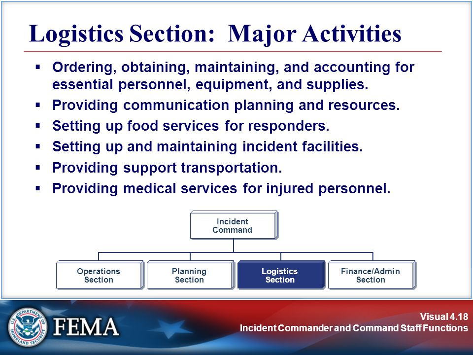 Visual 4.18 Incident Commander and Command Staff Functions Logistics Section: Major Activities  Ordering, obtaining, maintaining, and accounting for essential personnel, equipment, and supplies.