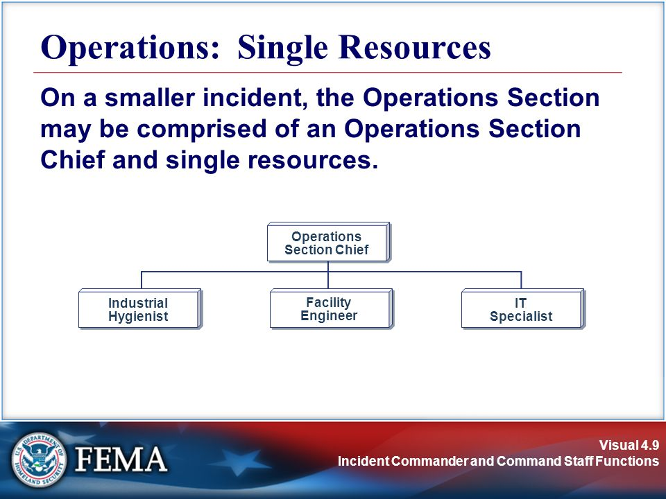 Visual 4.9 Incident Commander and Command Staff Functions Operations: Single Resources On a smaller incident, the Operations Section may be comprised of an Operations Section Chief and single resources.
