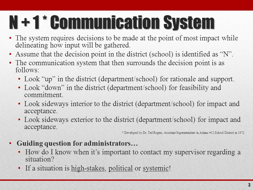 N + 1 * Communication System The system requires decisions to be made at the point of most impact while delineating how input will be gathered.