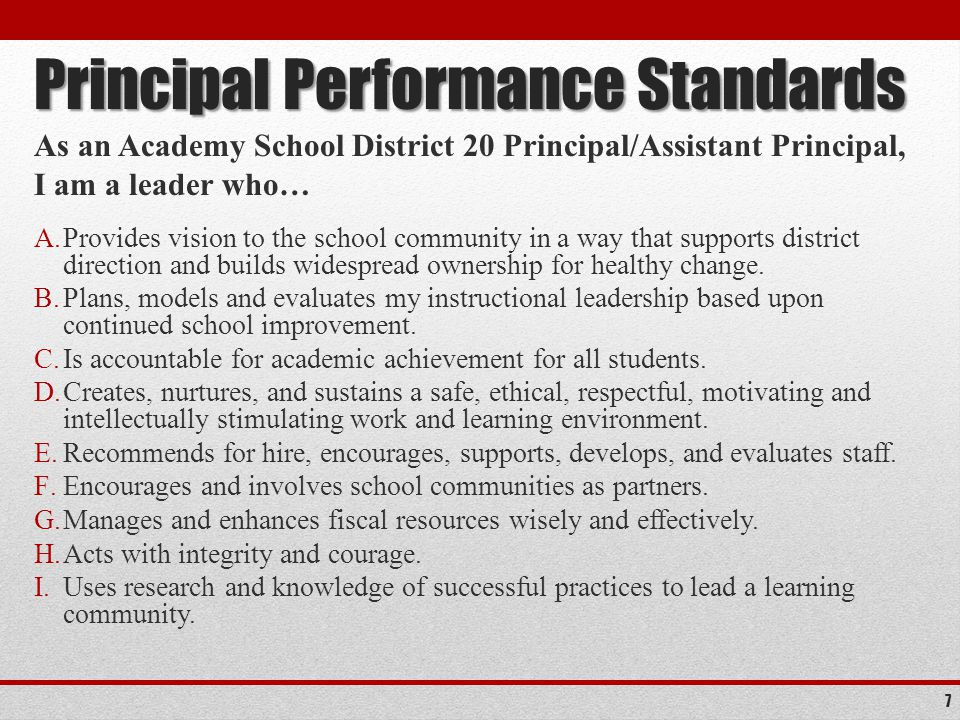 Principal Performance Standards As an Academy School District 20 Principal/Assistant Principal, I am a leader who… A.Provides vision to the school community in a way that supports district direction and builds widespread ownership for healthy change.