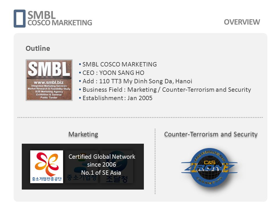 SMBL COSCO MARKETING SMBL COSCO MARKETING CEO : YOON SANG HO Add : 110 TT3 My Dinh Song Da, Hanoi Business Field : Marketing / Counter-Terrorism and S