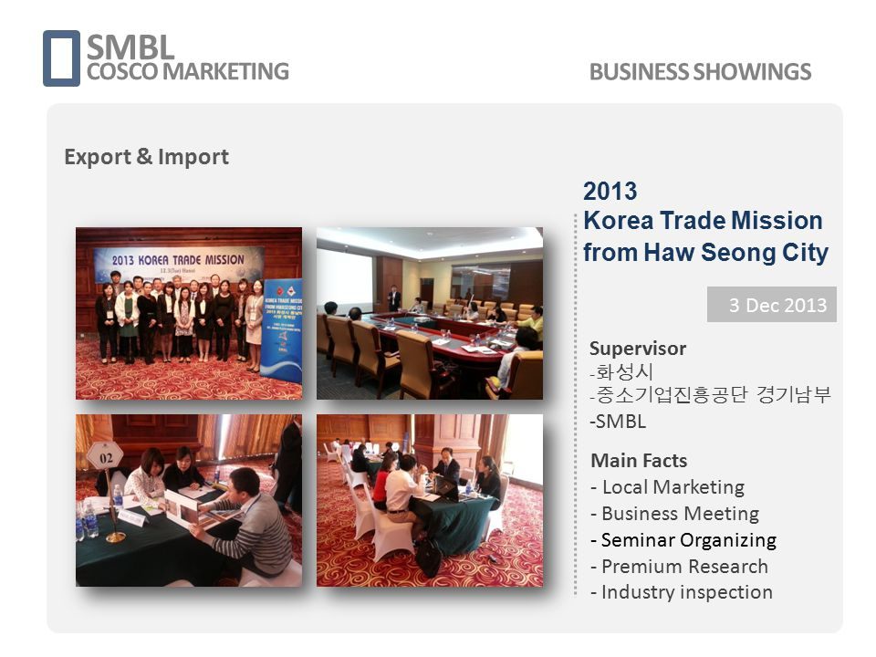 SMBL COSCO MARKETING 3 Dec 2013 Supervisor - 화성시 - 중소기업진흥공단 경기남부 -SMBL Main Facts - Local Marketing - Business Meeting - Seminar Organizing - Premium