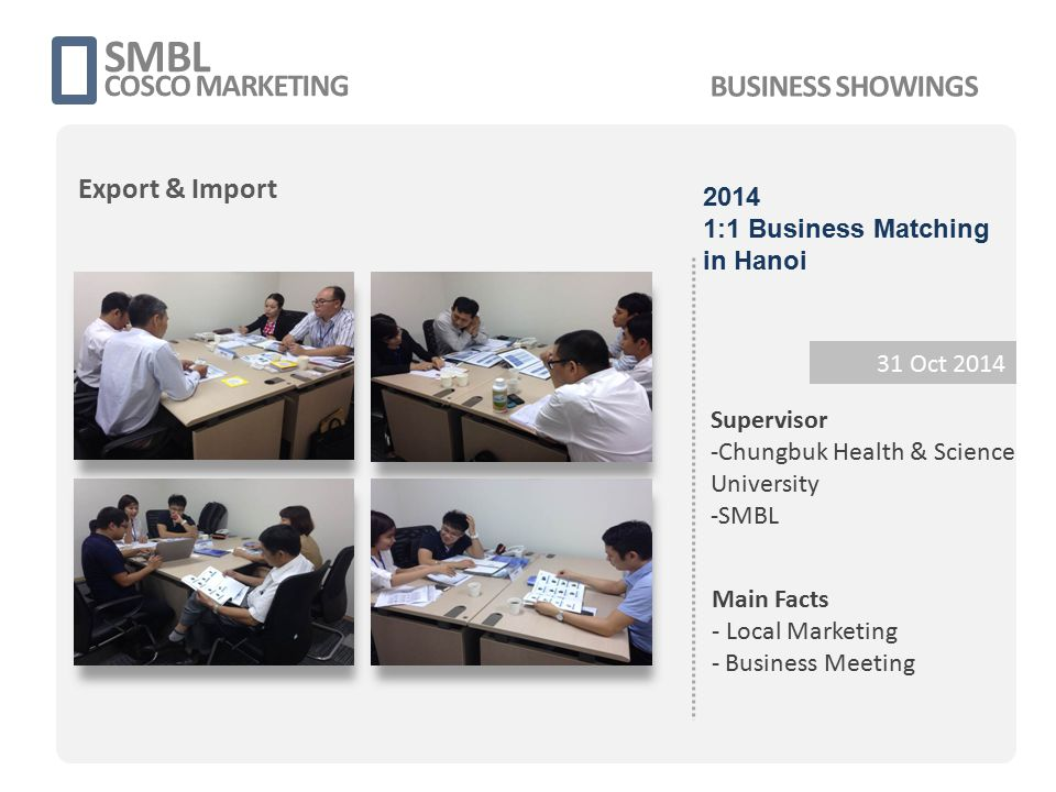 SMBL COSCO MARKETING 31 Oct 2014 Supervisor -Chungbuk Health & Science University -SMBL Main Facts - Local Marketing - Business Meeting 2014 1:1 Busin