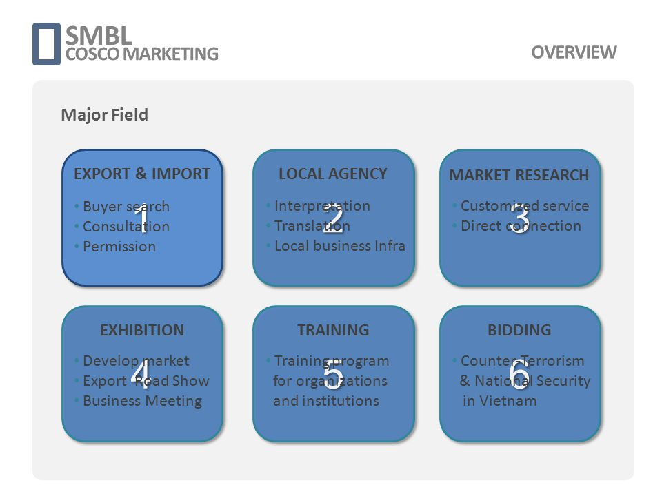 대전창업보육협의회 Vietnam Business Meeting 3 Nov 2011 Supervisor - 대전창업보육협의회 - 대전시 Main Facts - Premium Research - Business Matching - Local Marketing SMBL COSCO MARKETING BUSINESS SHOWINGS Export & Import