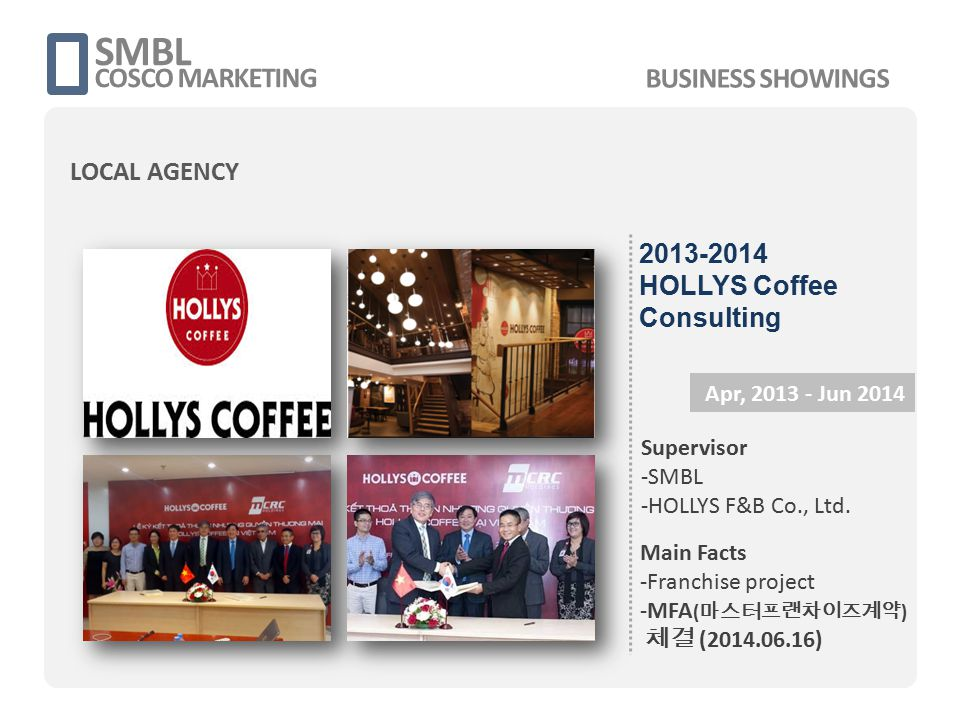 SMBL COSCO MARKETING Apr, 2013 - Jun 2014 Supervisor -SMBL -HOLLYS F&B Co., Ltd. Main Facts -Franchise project -MFA ( 마스터프랜차이즈계약 ) 체결 (2014.06.16) 201