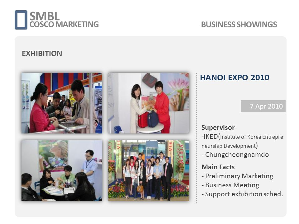 HANOI EXPO 2010 7 Apr 2010 Main Facts - Preliminary Marketing - Business Meeting - Support exhibition sched. SMBL COSCO MARKETING Supervisor -IKED( In