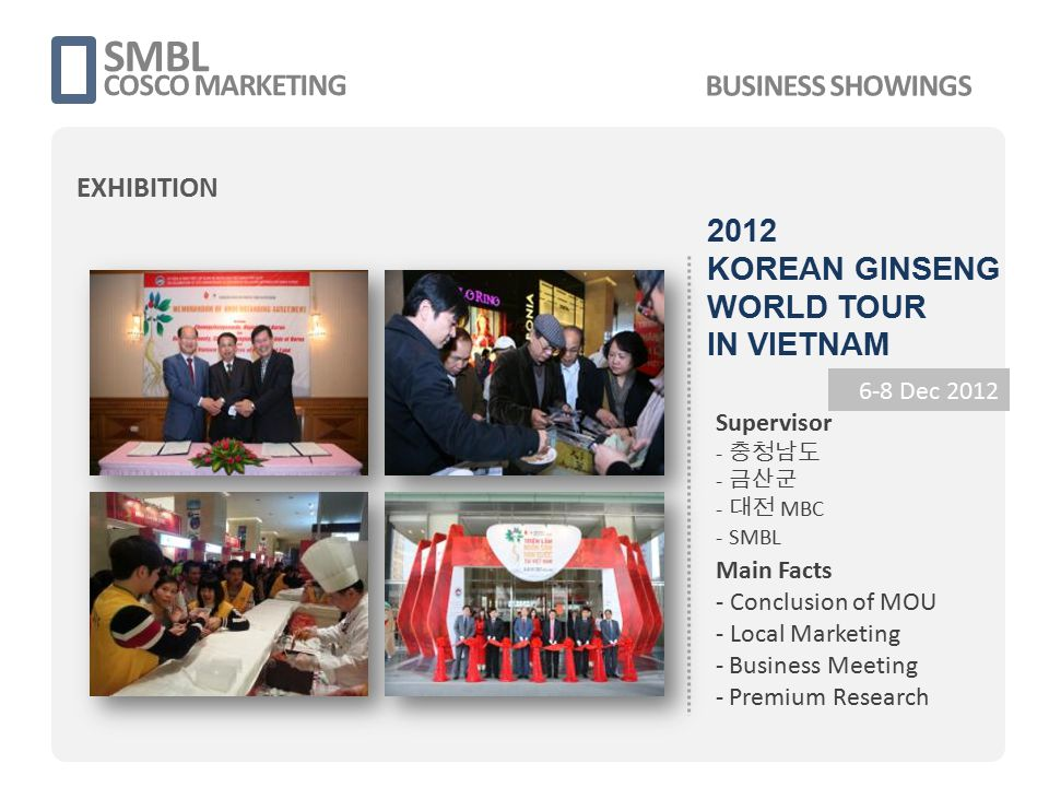 2012 KOREAN GINSENG WORLD TOUR IN VIETNAM SMBL COSCO MARKETING 6-8 Dec 2012 Supervisor - 충청남도 - 금산군 - 대전 MBC - SMBL Main Facts - Conclusion of MOU - L