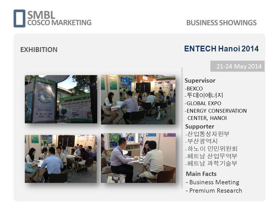 SMBL COSCO MARKETING 21-24 May 2014 Supervisor -BEXCO - 투데이에너지 -GLOBAL EXPO -ENERGY CONSERVATION CENTER, HANOI Main Facts - Business Meeting - Premium