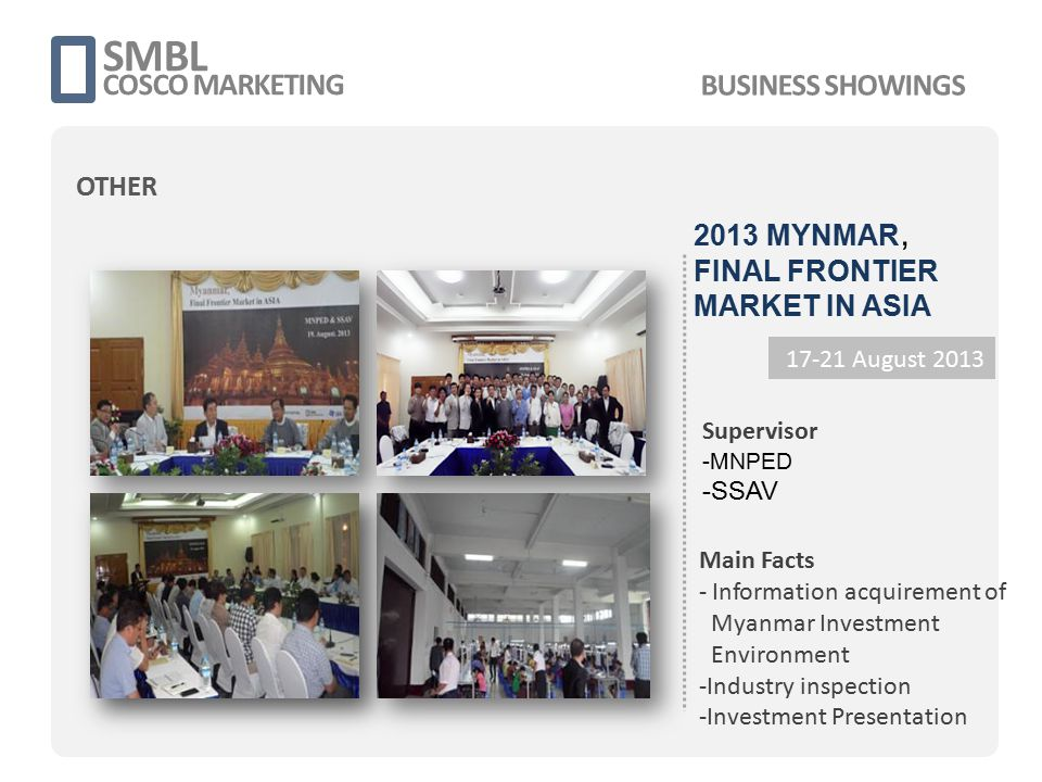 SMBL COSCO MARKETING 17-21 August 2013 Supervisor -MNPED -SSAV Main Facts - Information acquirement of Myanmar Investment Environment -Industry inspec