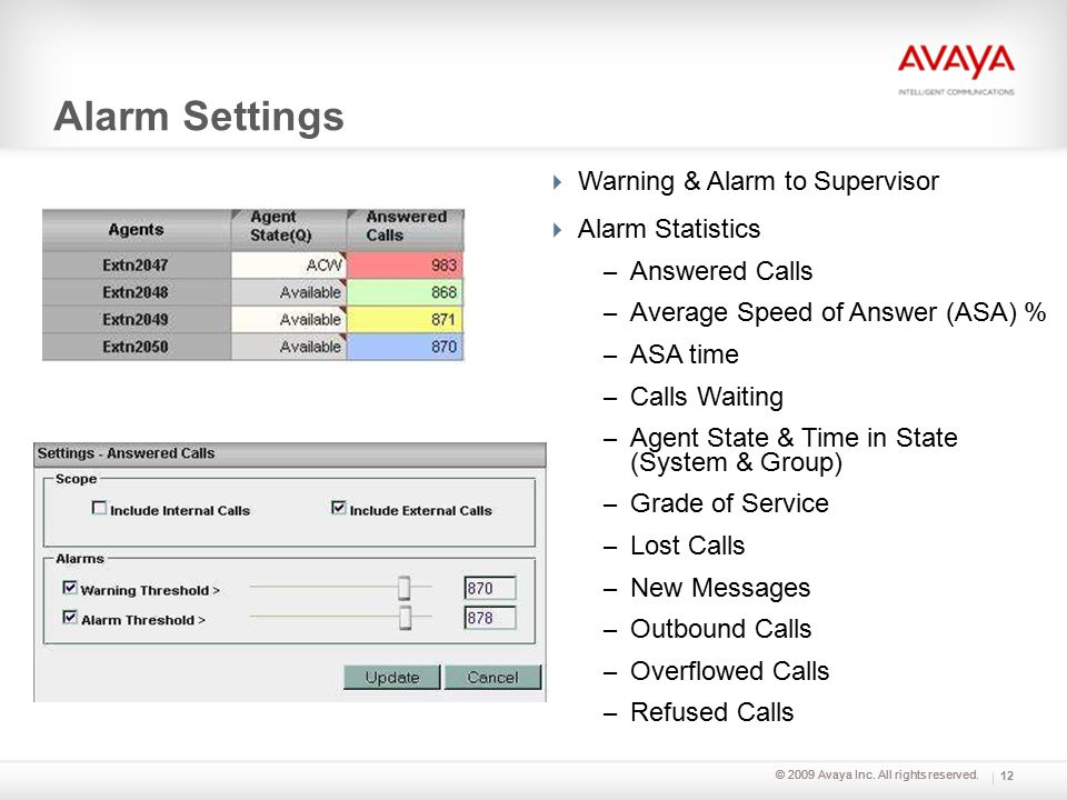 © 2009 Avaya Inc. All rights reserved. Alarm Settings 12  Warning & Alarm to Supervisor  Alarm Statistics – Answered Calls – Average Speed of Answer