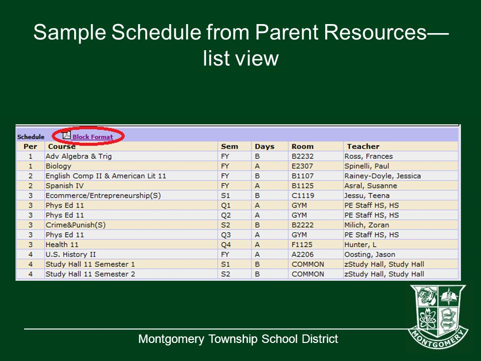 Montgomery Township School District Sample Schedule from Parent Resources— list view