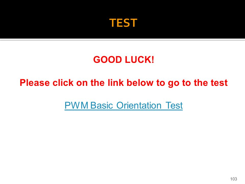 103 GOOD LUCK! Please click on the link below to go to the test PWM Basic Orientation Test