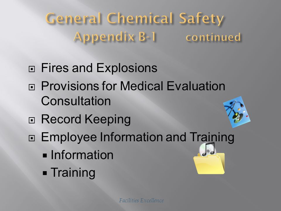 Do's  Don'ts  Hazardous Materials  Material Safety Data Sheets  Laboratory, Workshop or Studio Safety  General Safety Rules  Hazardous Chemical Waste Disposal  Collection and Segregation  Identification and Labeling  Transferring Facilities Excellence Slide 1