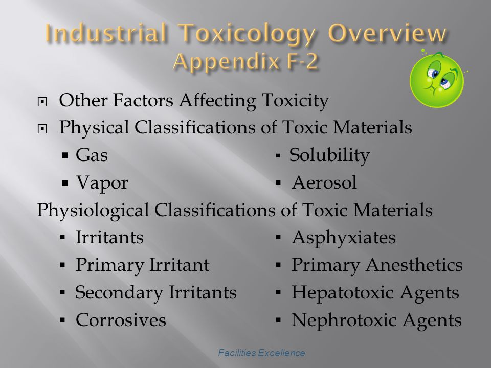 CChemical Toxicology DDose-Response Relationships RRoutes of Entry Into the Body TTypes of Effects AAcute Poisoning CChronic Poisoning LLocal SSystemic CCumulative Poisons SSubstances in Combination Facilities Excellence