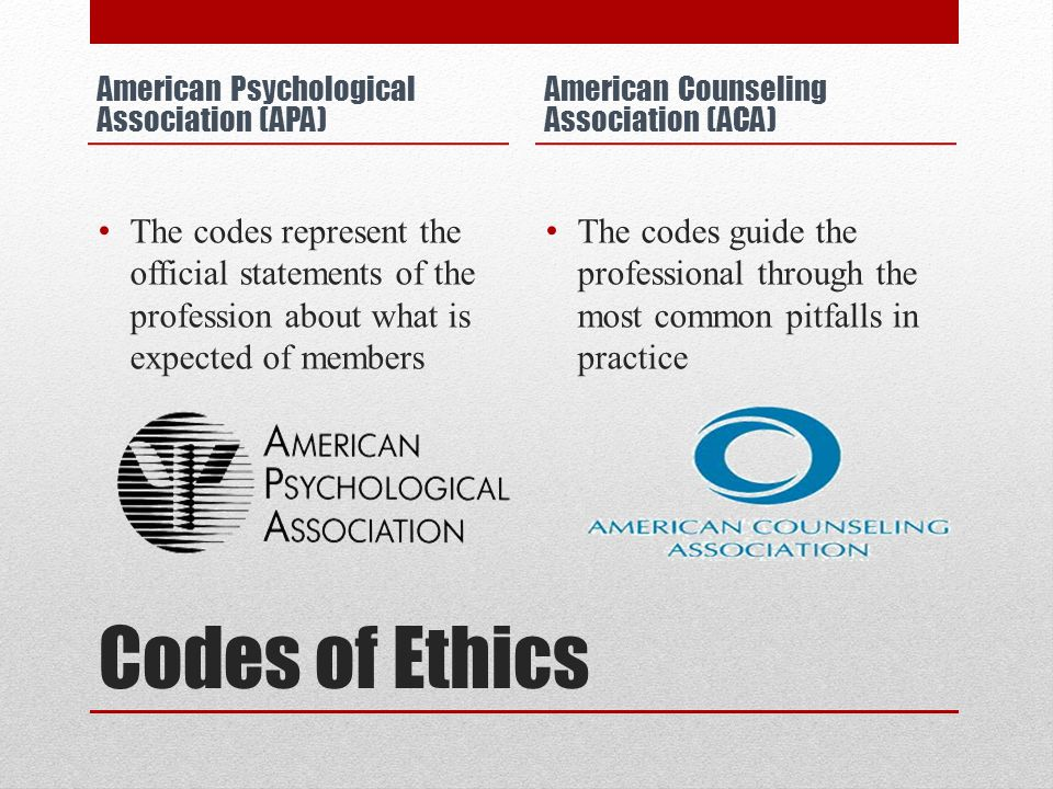 Codes of Ethics American Psychological Association (APA) The codes represent the official statements of the profession about what is expected of members American Counseling Association (ACA) The codes guide the professional through the most common pitfalls in practice
