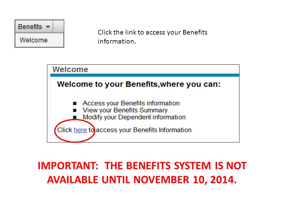 Click the link to access your Benefits information.