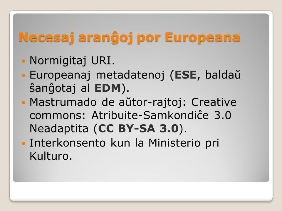 Necesaj aranĝoj por Europeana Normigitaj URI. Europeanaj metadatenoj (ESE, baldaŭ ŝanĝotaj al EDM).