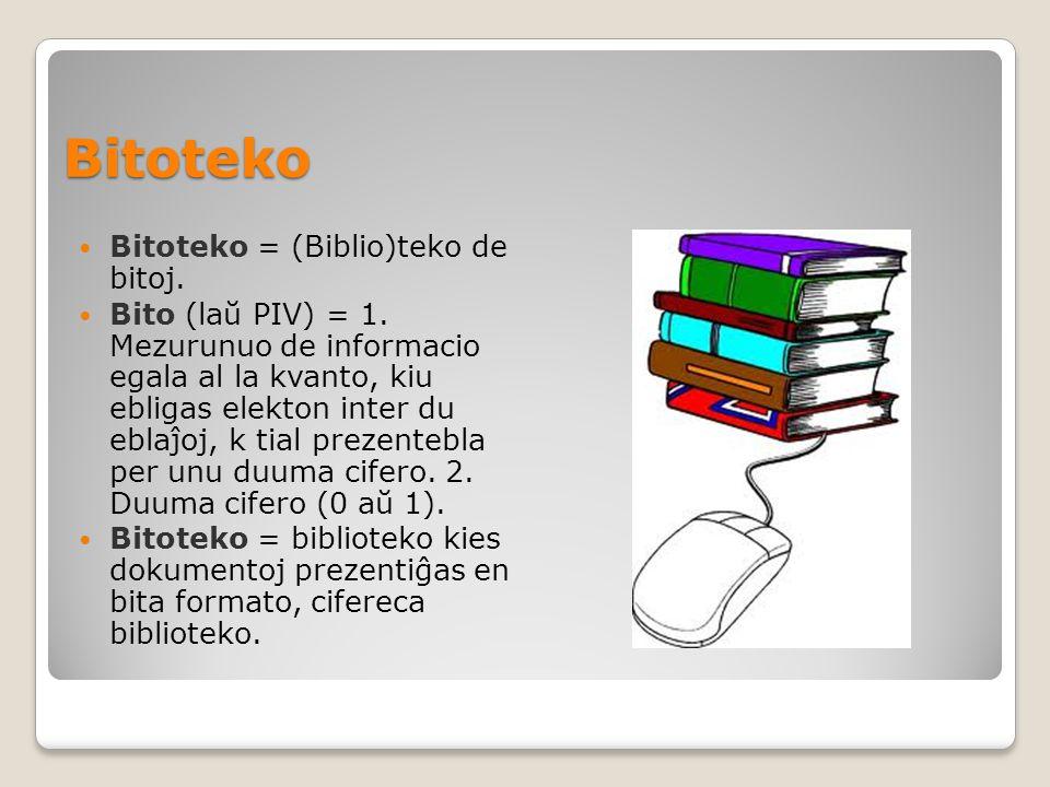 Bitoteko Bitoteko = (Biblio)teko de bitoj. Bito (laŭ PIV) = 1.