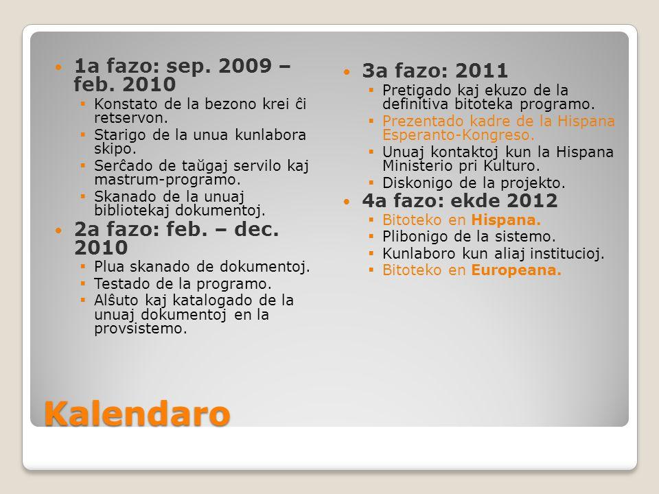 Kalendaro 1a fazo: sep. 2009 – feb. 2010  Konstato de la bezono krei ĉi retservon.