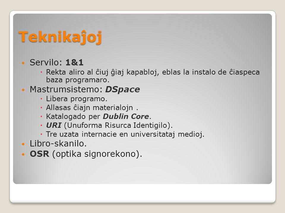 Teknikaĵoj Servilo: 1&1  Rekta aliro al ĉiuj ĝiaj kapabloj, eblas la instalo de ĉiaspeca baza programaro.