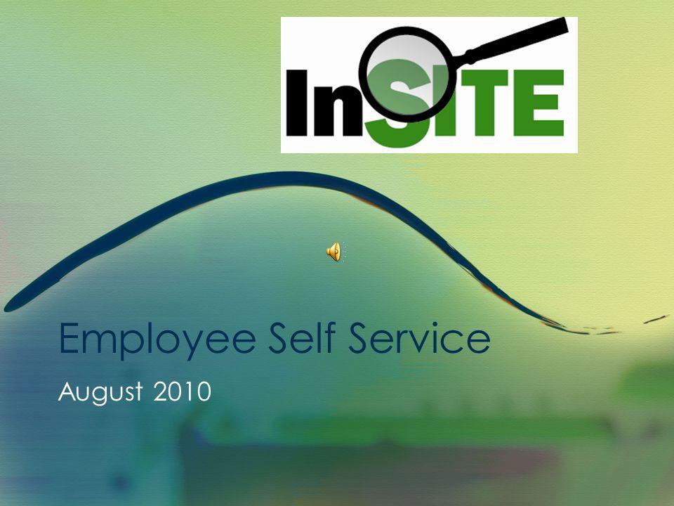 Employee Self Service August 2010