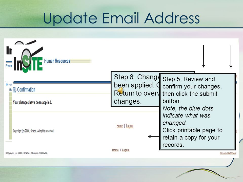 Update Email Address Step 4. Update email address and click Next button at top or bottom of screen.