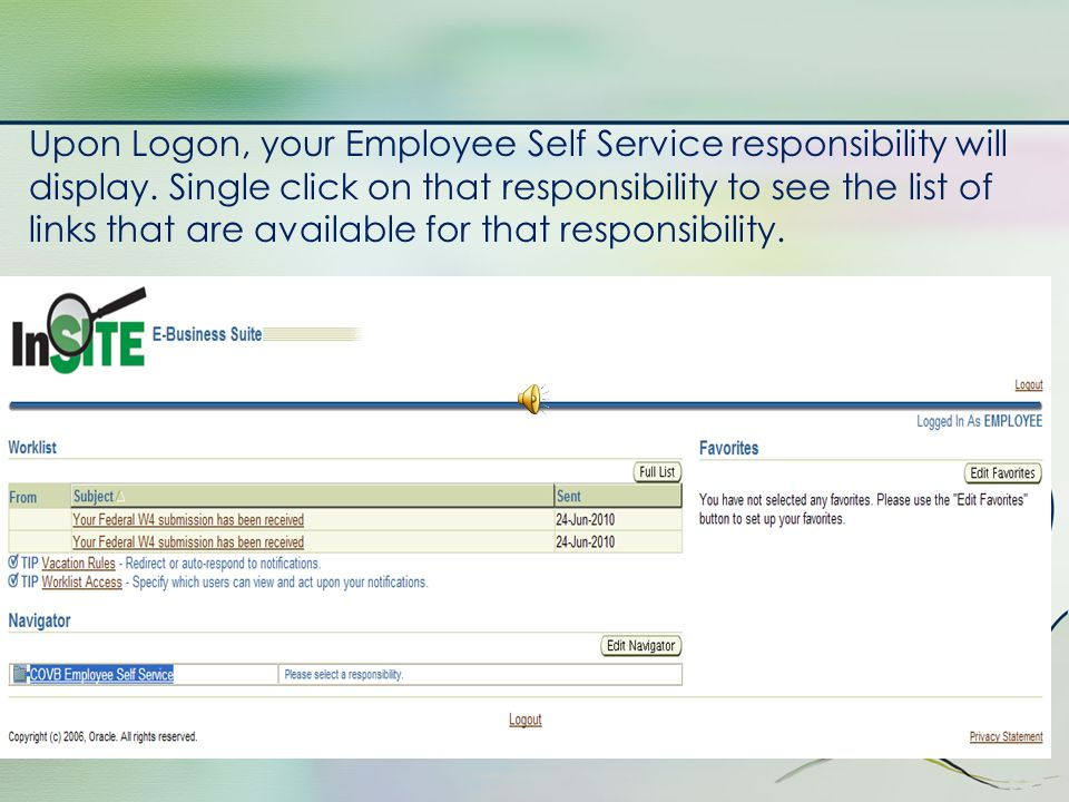 Employee Self Service Responsibility