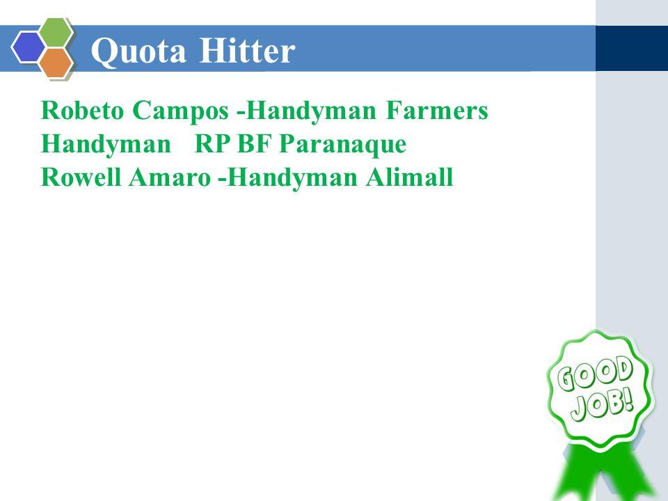 Quota Hitter Robeto Campos -Handyman Farmers Handyman RP BF Paranaque Rowell Amaro -Handyman Alimall
