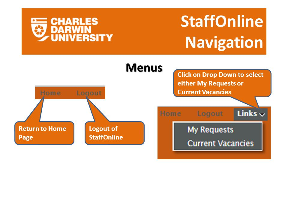 StaffOnline Navigation Menus Return to Home Page Logout of StaffOnline Click on Drop Down to select either My Requests or Current Vacancies
