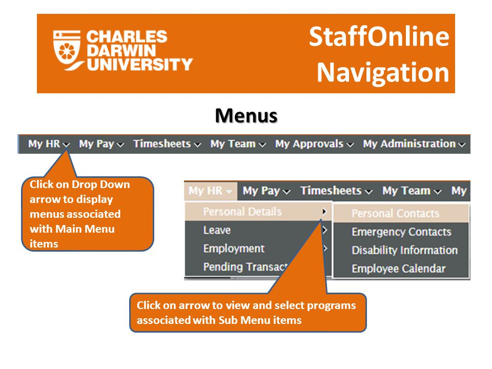 StaffOnline Navigation Menus Click on Drop Down arrow to display menus associated with Main Menu items Click on arrow to view and select programs associated with Sub Menu items
