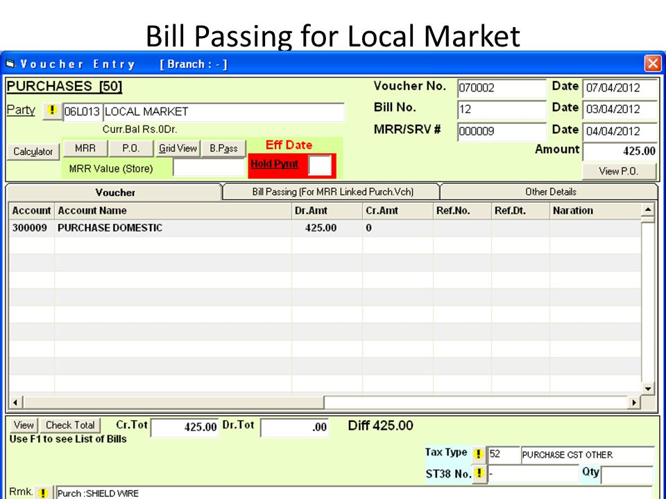 Bill Passing for Local Market