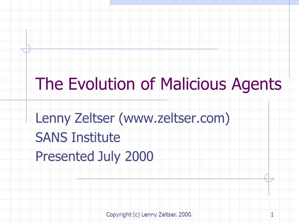 Copyright (c) Lenny Zeltser. 2000.1 The Evolution of Malicious Agents Lenny Zeltser (www.zeltser.com) SANS Institute Presented July 2000