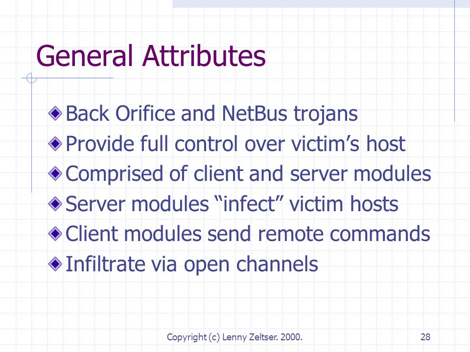 Copyright (c) Lenny Zeltser. 2000.28 General Attributes Back Orifice and NetBus trojans Provide full control over victim's host Comprised of client an