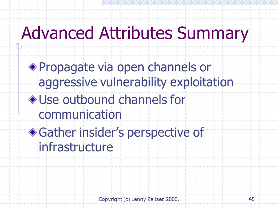 Copyright (c) Lenny Zeltser. 2000.48 Advanced Attributes Summary Propagate via open channels or aggressive vulnerability exploitation Use outbound cha